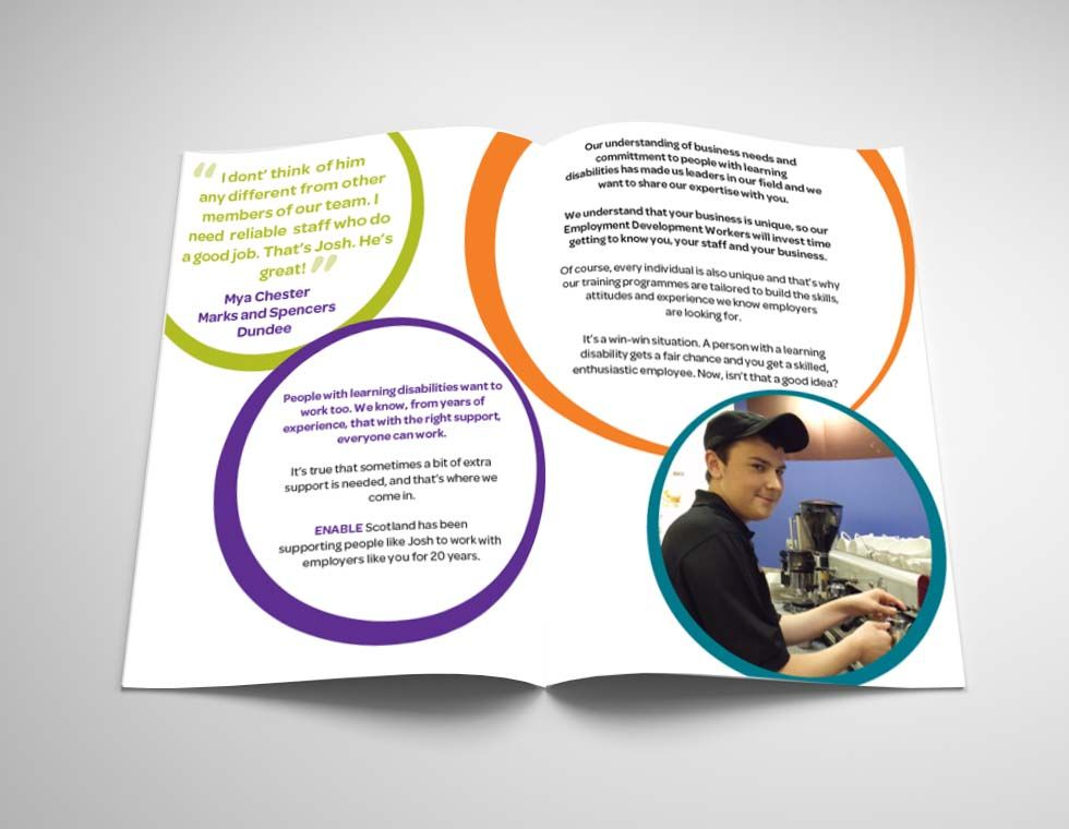 ENABLE EMPLOYMENT LEAFLET. Inner pages of the Employment Building Your Team Leaflet giving out information.