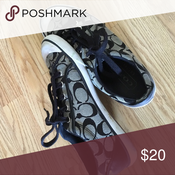 Coach Sneakers Black and grey classic Coach print sneakers - mildly worn. Coach Shoes Sneakers