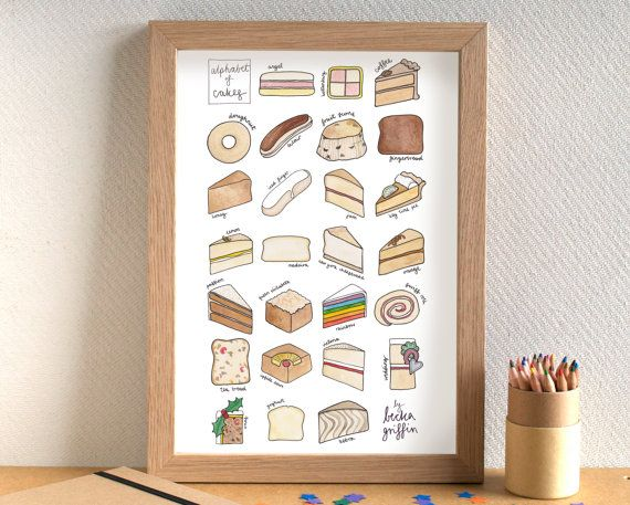 Cake Alphabet Kitchen Art Print Alphabet Print Kitchen Art Alphabet Mugs
