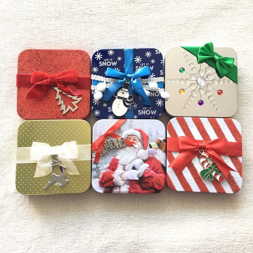 New Christmas Gift Card Holders Set Of 6 Six Holidays Tins Ebay Gift Card Holder Christmas Gift Card Christmas Gift Card Holders