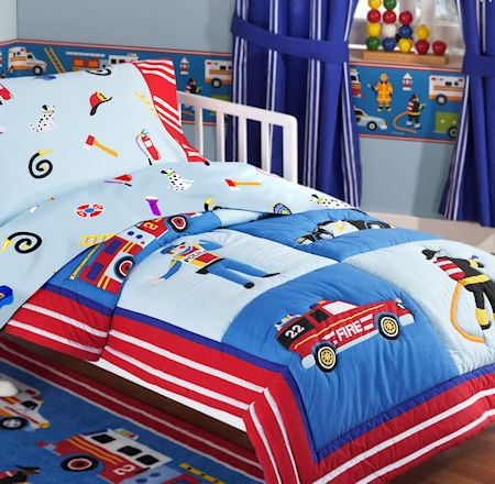 fire truck police car toddler boy bedding 4pc bed in a bag comforter set blue red - Kids Sheets Boys