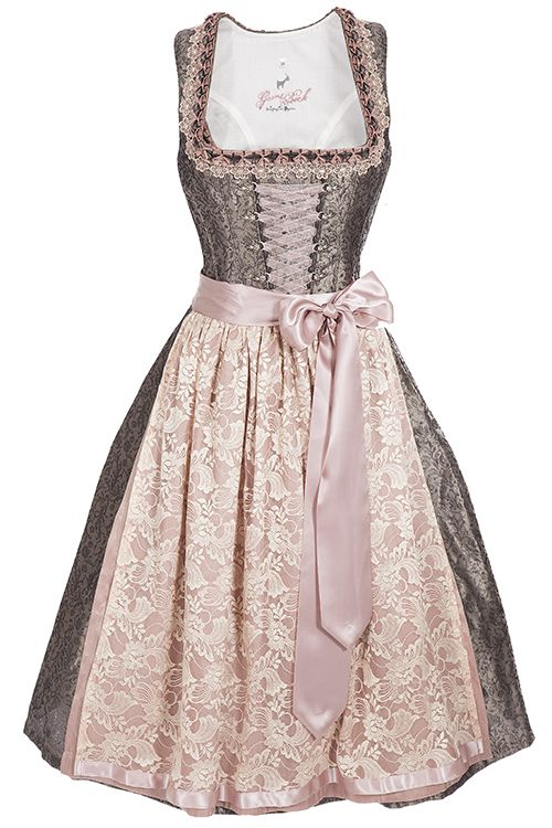Elegantes Midi Dirndl Rosa Grau Spitzenschurze Dirndl Rosa Modestil Dirndl Spitze