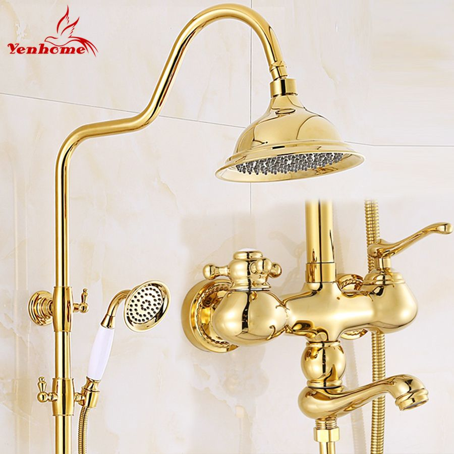 Cheap Faucet Lamp, Buy Quality Taps Sensor Directly From China Faucet  Suppliers: Luxury Gold Ceramics Crystal Retro Solid Brass Bathroom Shower  Set Faucet ...