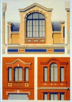Window Design. Original antique chromolithograph, dated 1878