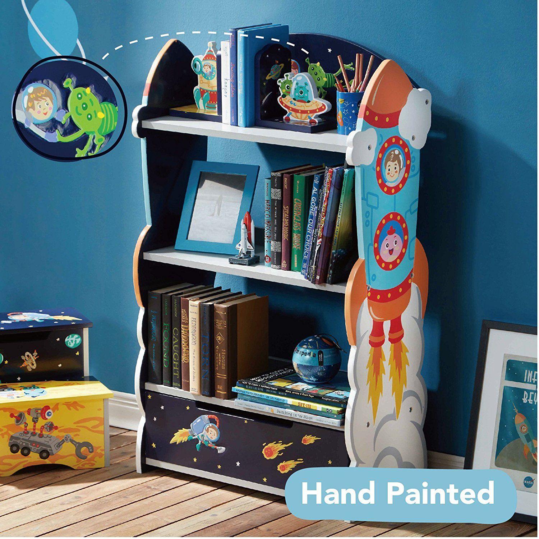 Weltraum Bücherregal für Kinder. Handgemalte und handgeschnitzte ...