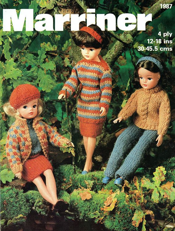 """fits 12-18/"""" dolls vintage Dolls Outfits to knit in DK-4ply KNITTING Pattern"""