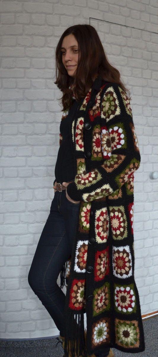 Crocheted abrigo chaqueta abuela abrigo cuadrado mujer cardigan bufanda hecho a mano abrigo de moda diseño otoño abrigo Boho abrigo negro