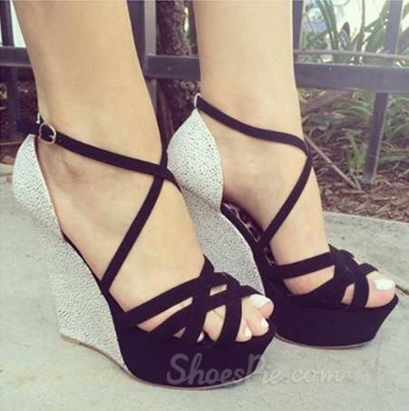 Stylish Gray & Black #Contrast #Colour PU #Wedge Heel #Sandals