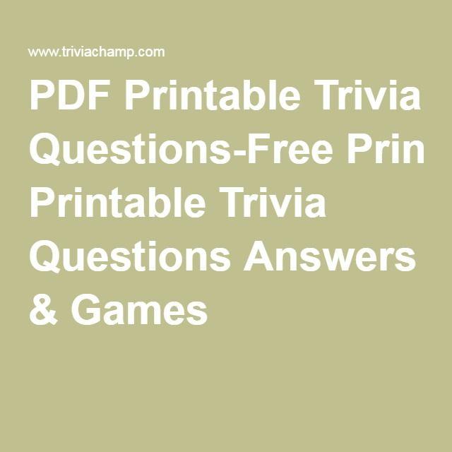 PDF Printable Trivia Questions-Free Printable Trivia Questions ...