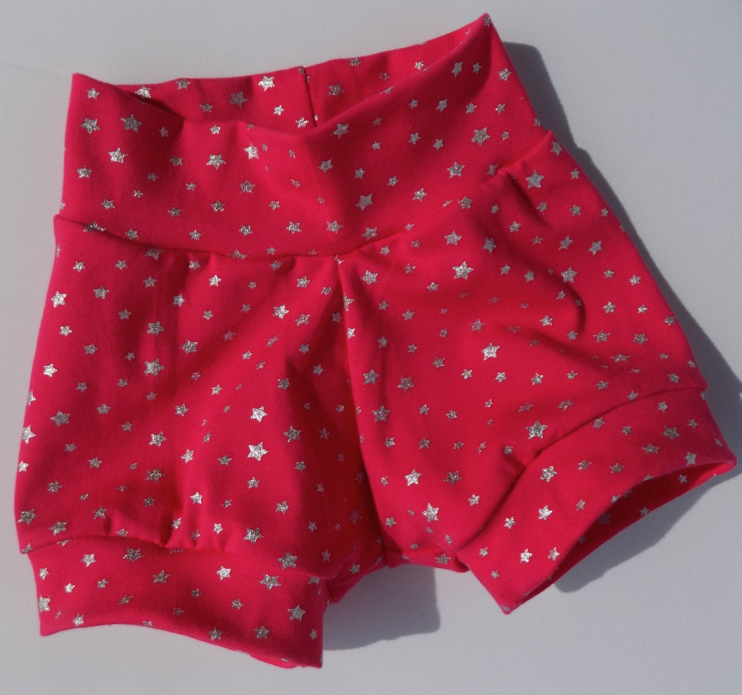 BRIGHT pink and SHINY silver star baby shorts, soft and comfy, TRENDY baby, baby gift by 4arrowsdesign on Etsy