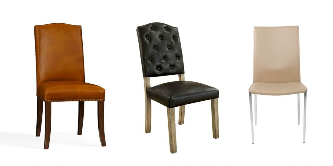 black faux leather dining room chairs