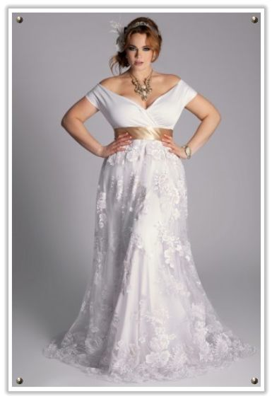 Off the shoulder with lace detail and a gold sash. Wedding dress to accentuate feminine curves.