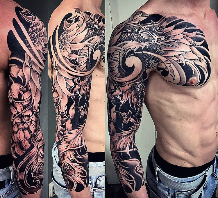 Amsterdam Tattoo 1825 Kimihito Japanese Style Custom Tattoo Design Phoenix Full Sleeve Blac Amsterdam Tattoo Phoenix Tattoo Sleeve Irezumi Tattoos
