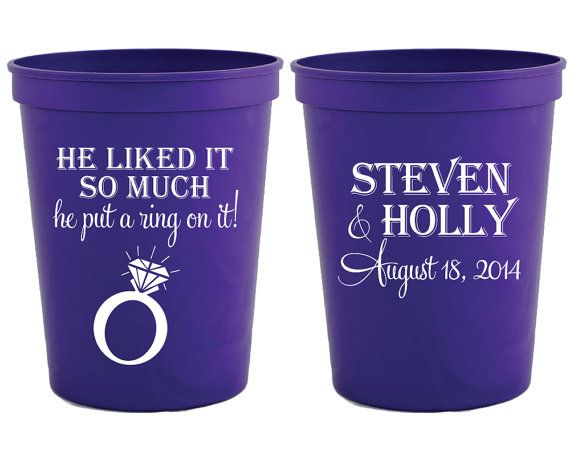 put a ring on it wedding cups bridal shower cups personalized plastic cups he liked it so much he put a ring on it wedding cups 1134 by siphiphooray