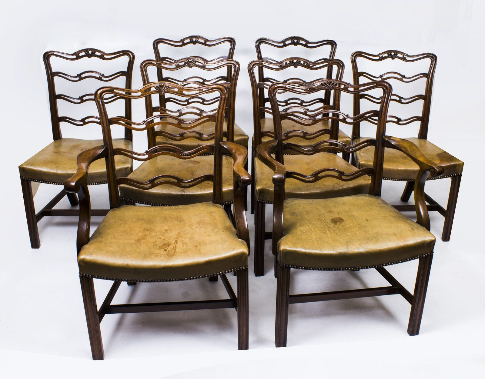 Details About Set 8 Vintage Chippendale Ladderback Dining Chairs From Harrods