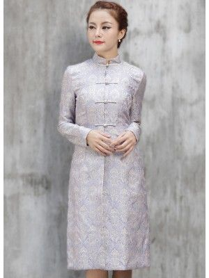 Purple Winter Long-sleeve Chinese Qipao / Cheongsam Coat