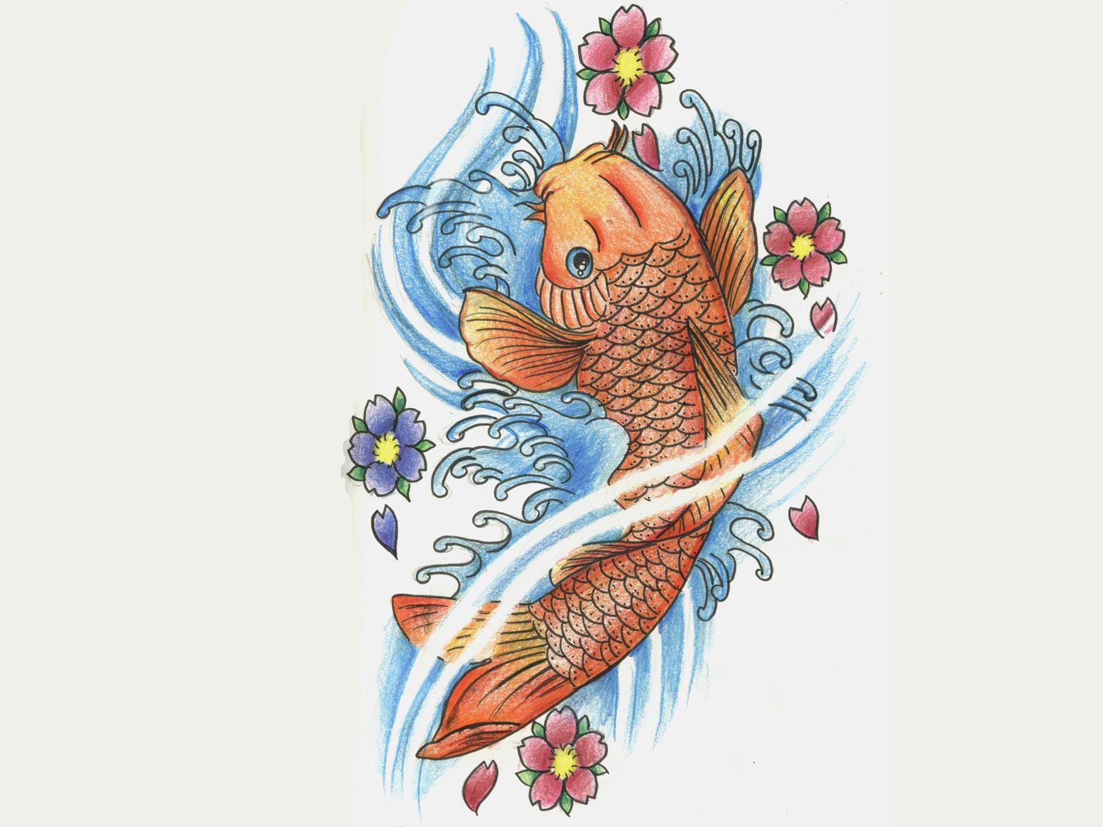 free designs orange coy carp and flowers wallpaper design 1600x1200 pixel new ink pinterest. Black Bedroom Furniture Sets. Home Design Ideas
