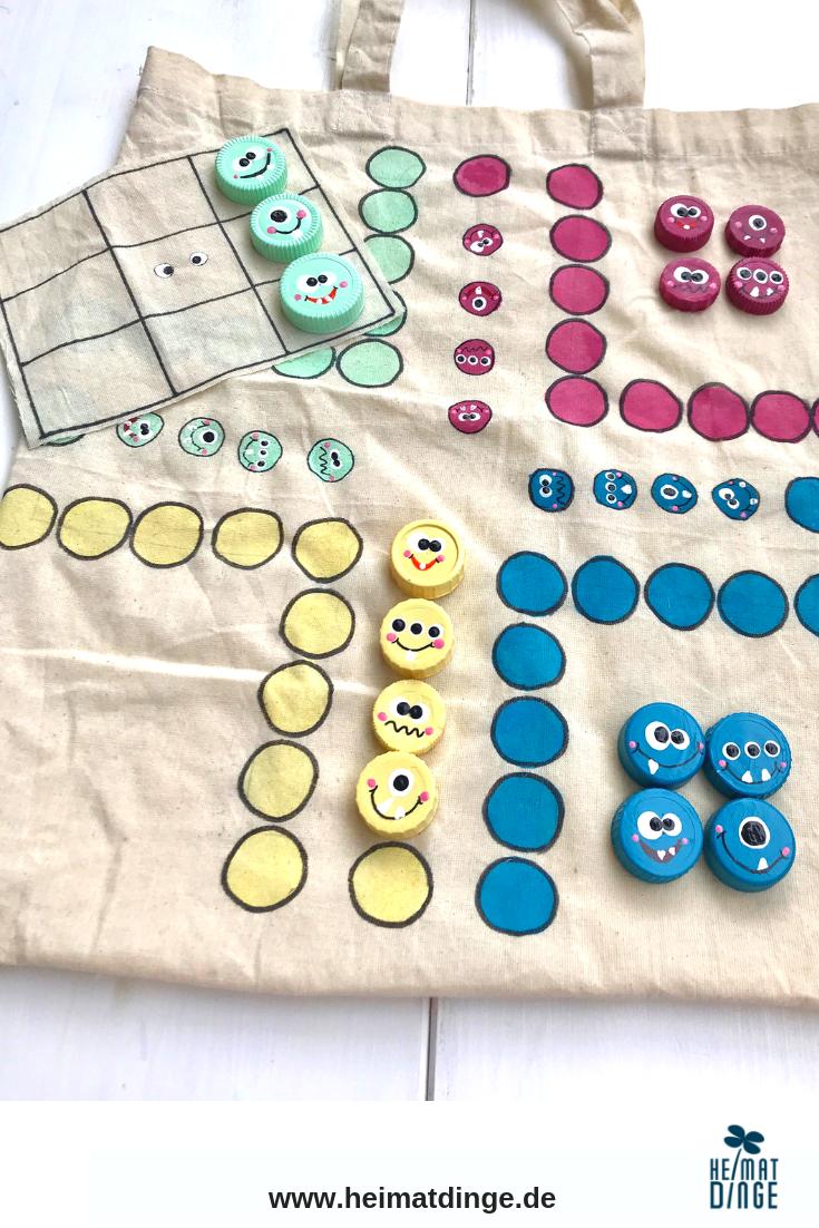 Spiele selber basteln: 3-in-1 Kinderspiele Set aus Baumwolltasche