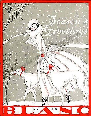 Art nouveau sighthound seasons greetings cards set of 4 with envelopes vintage holidayvintage
