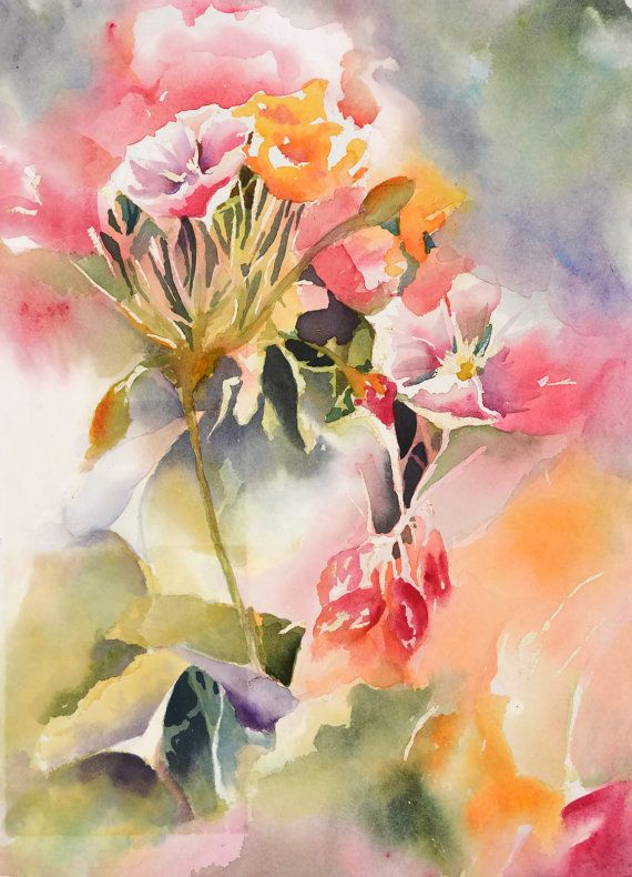 Watercolor Paintingfloral Art Print Abstract Par Nancyknightart