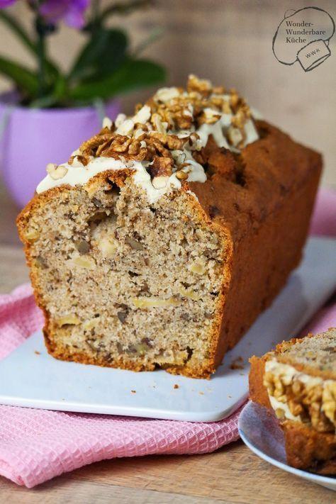 Apfel Walnuss Kuchen Aus Der Kastenform Mit Weisser Schokoladen Und