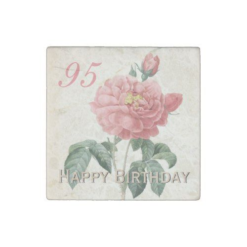Vintage Rose 95th Birthday Stone Magnet