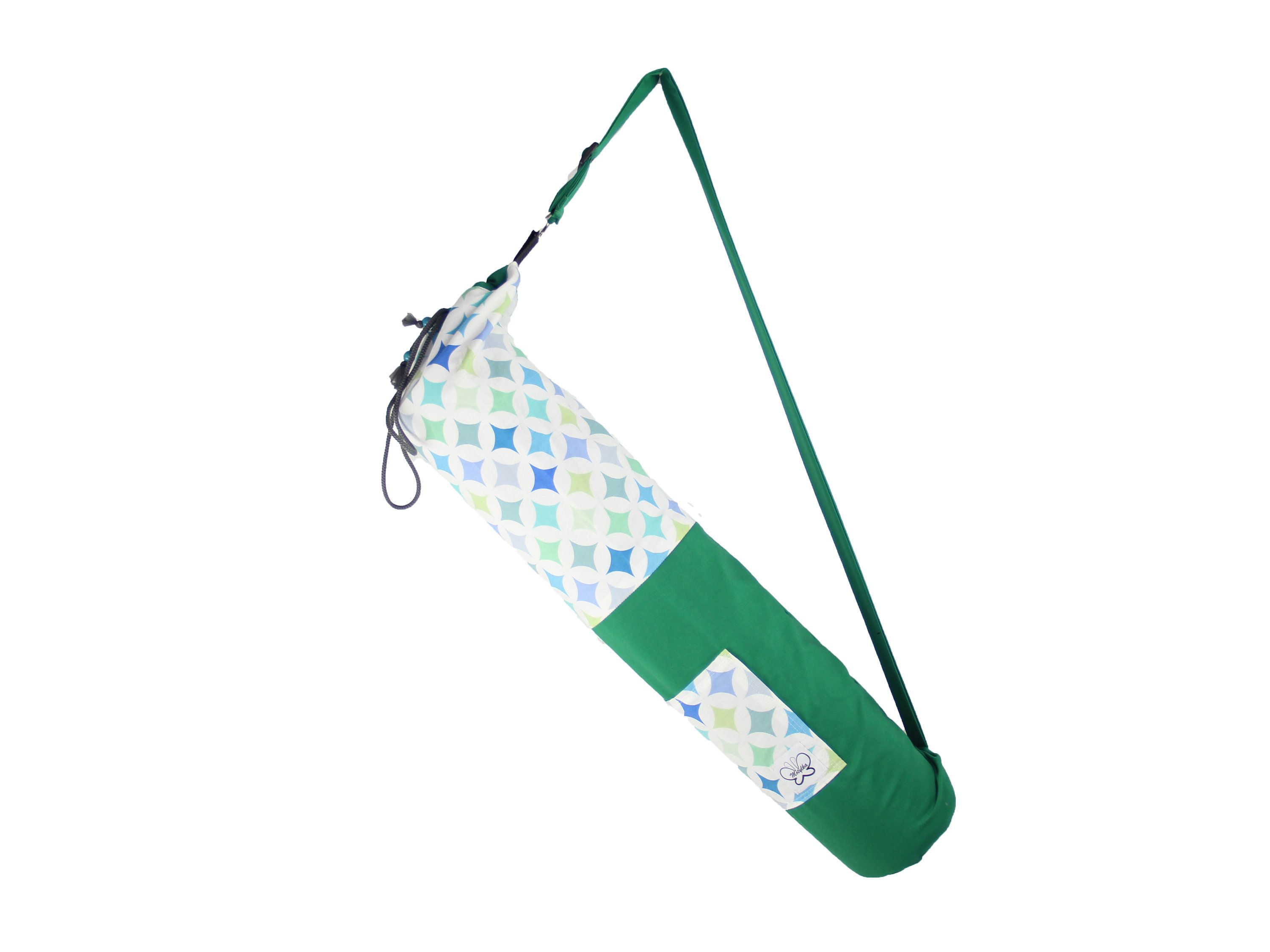 Green And Patterned Stars Cotton Yoga Mat Bag With External Pocket And Lining Fits Standard Mat Comes With Personalised Keychain Mat Bag Personalized Keychain Yoga Mat Bag