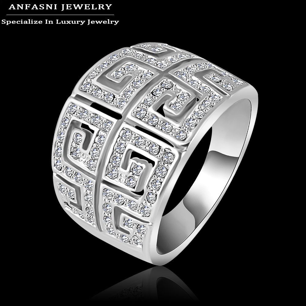 Anfasni heißer verkauf klassische ring silber farbe ring breite ringe für frauen made with genuine swa stellux österreichischen kristall ri-hq1019-b