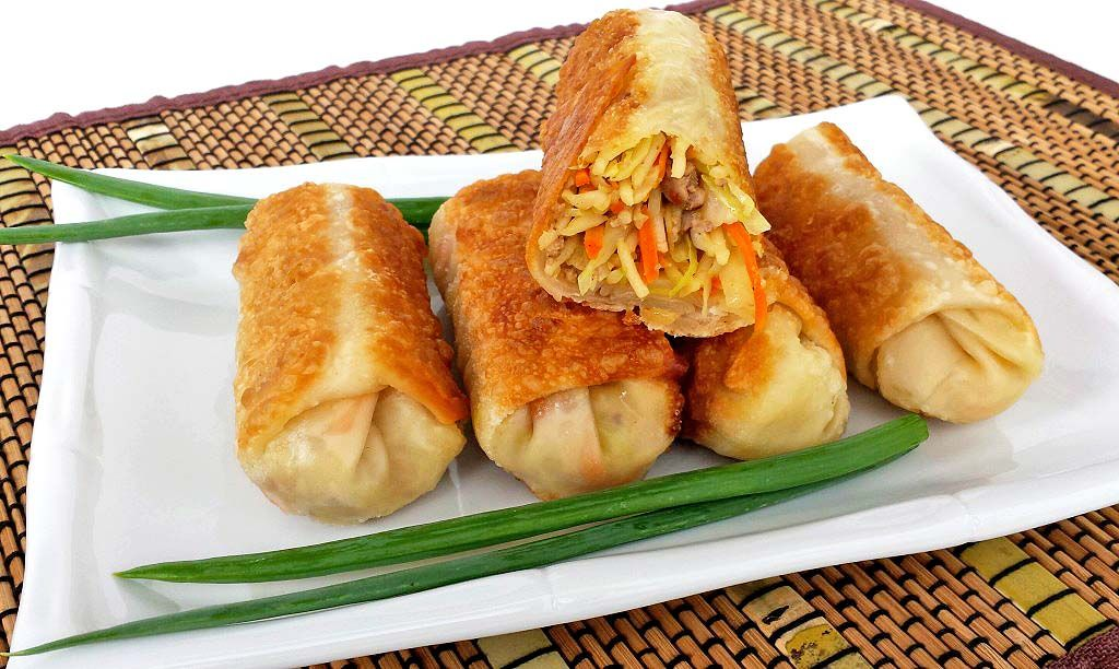 Festive New Year's Appetizers and Desserts Egg roll