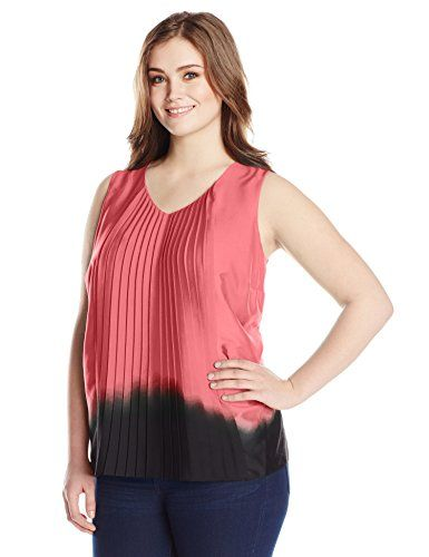 Awesome DKNYC Women's Plus-Size Vertical Pleat Front Blouse