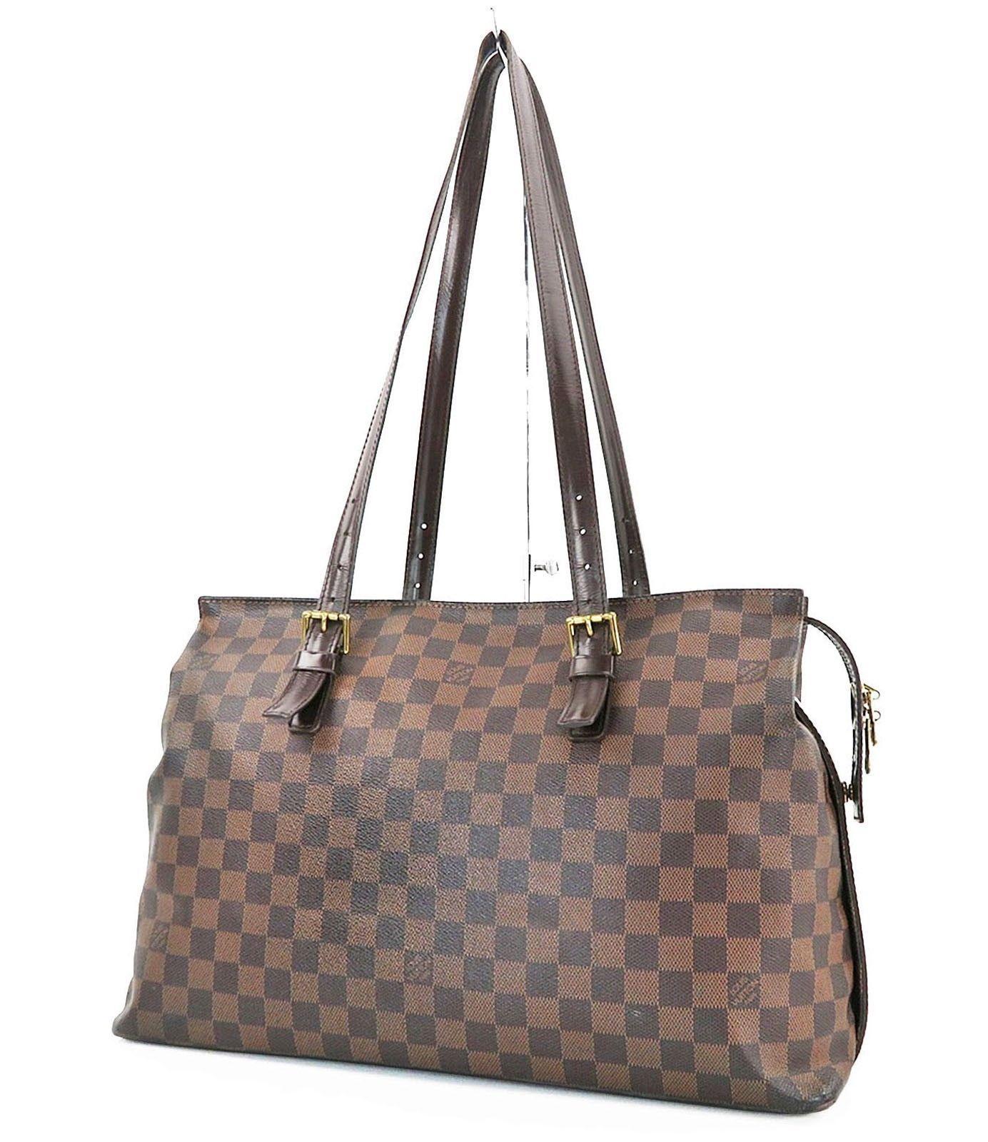 8a6c99ac8bdcd Authentic LOUIS VUITTON Chelsea Damier Ebene Tote Shoulder Bag Purse  27725