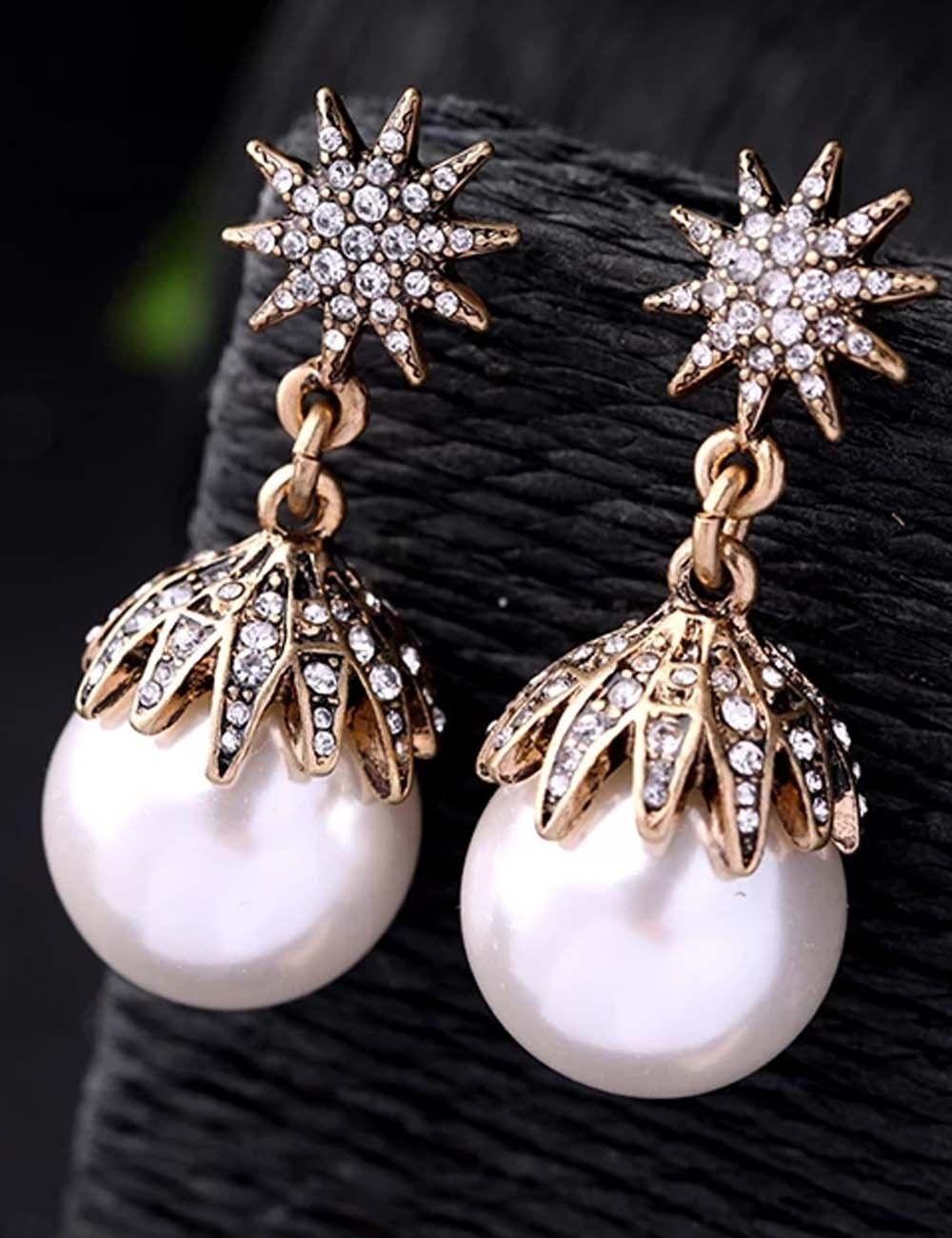 3df1ff2bda7c8 White Pearl Ear Drop Dangle Stud Ancient Gold long Tassels Pearl ...