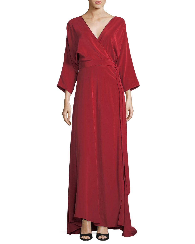 Longsleeve floorlength silk fauxwrap dress faux wrap dress