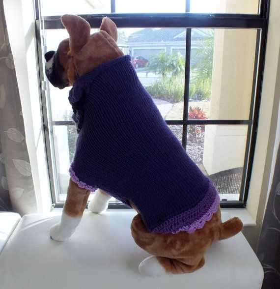 Dog Sweater Hand Knit Majestic 19 inches long X Large by ...