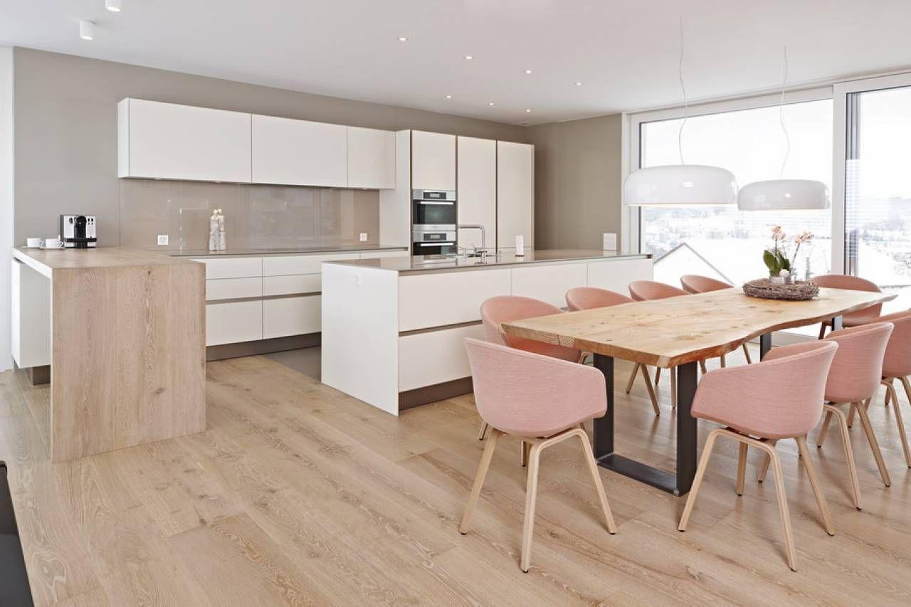 Offene Wohnküche Siematic S2 In Lack Mit Theke Aus Holz