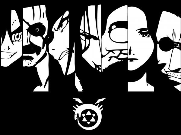 Homunculi from FMA; from left to right:  -- Wrath, Pride, Envy, Lust, Gluttony, Sloth, Greed