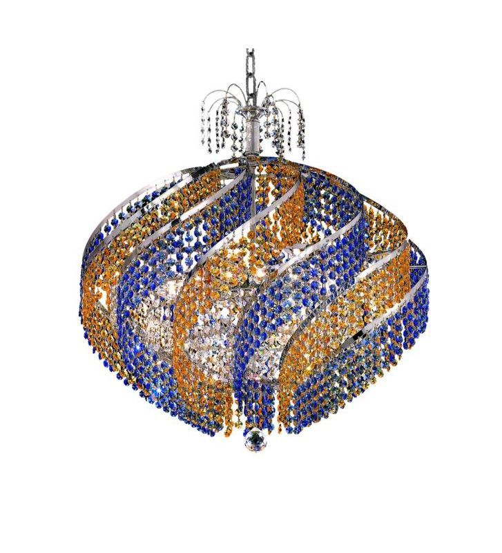 Elegant Lighting 8053D26C Spiral 15-Light Single-Tier Crystal Chandelier Finis Royal Cut  Crystal Indoor Lighting Chandeliers