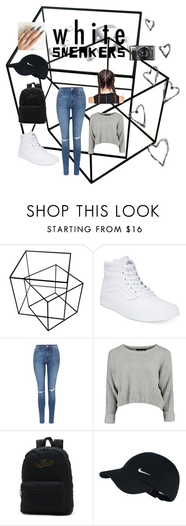 """""""White sneakers"""" by alliemcc ❤ liked on Polyvore featuring Vans, Topshop, NIKE and Brinley Co"""