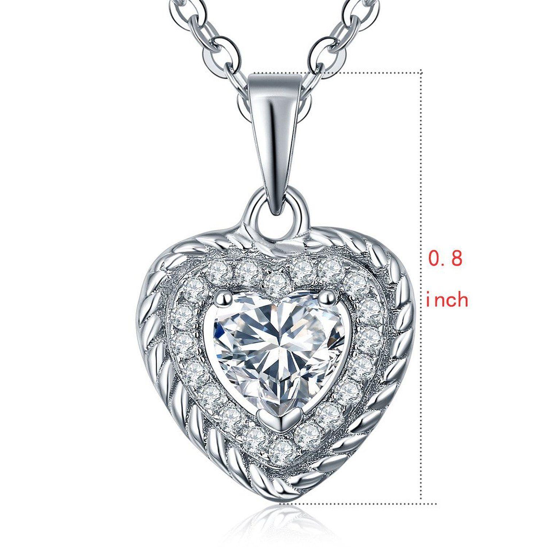 Endless love heart pendant necklace set with diamond