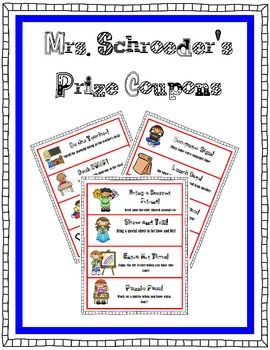 Prize Coupons | Classroom Management | Classroom behavior