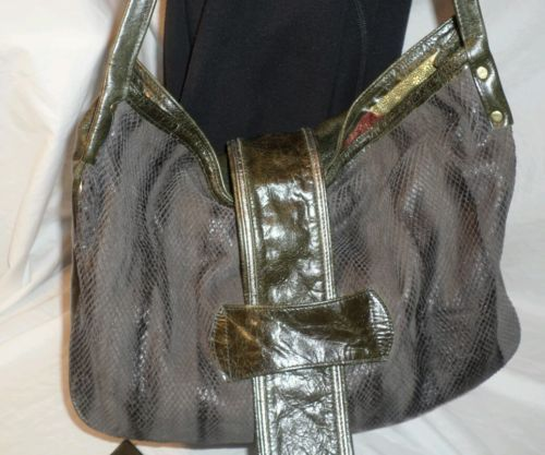 MAYA MOON designs Hobo shoulder bag snakeskin leather green black Purse +++ RARE