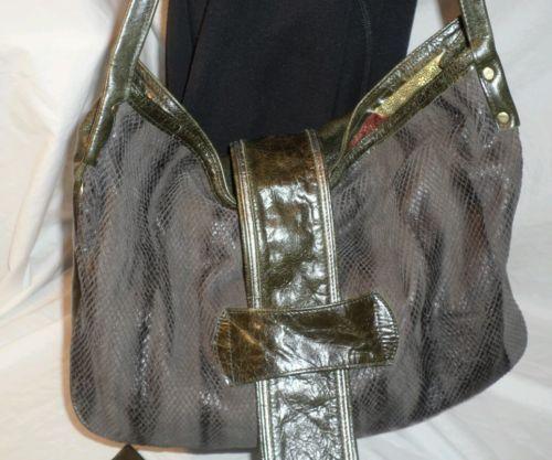 MAYA MOON designs Hobo shoulder bag snakeskin leather green black Purse +++ RARE