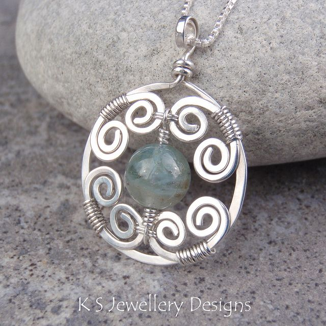 Misty Swirls Natural Aquamarine Spiral Circle Frame Sterling