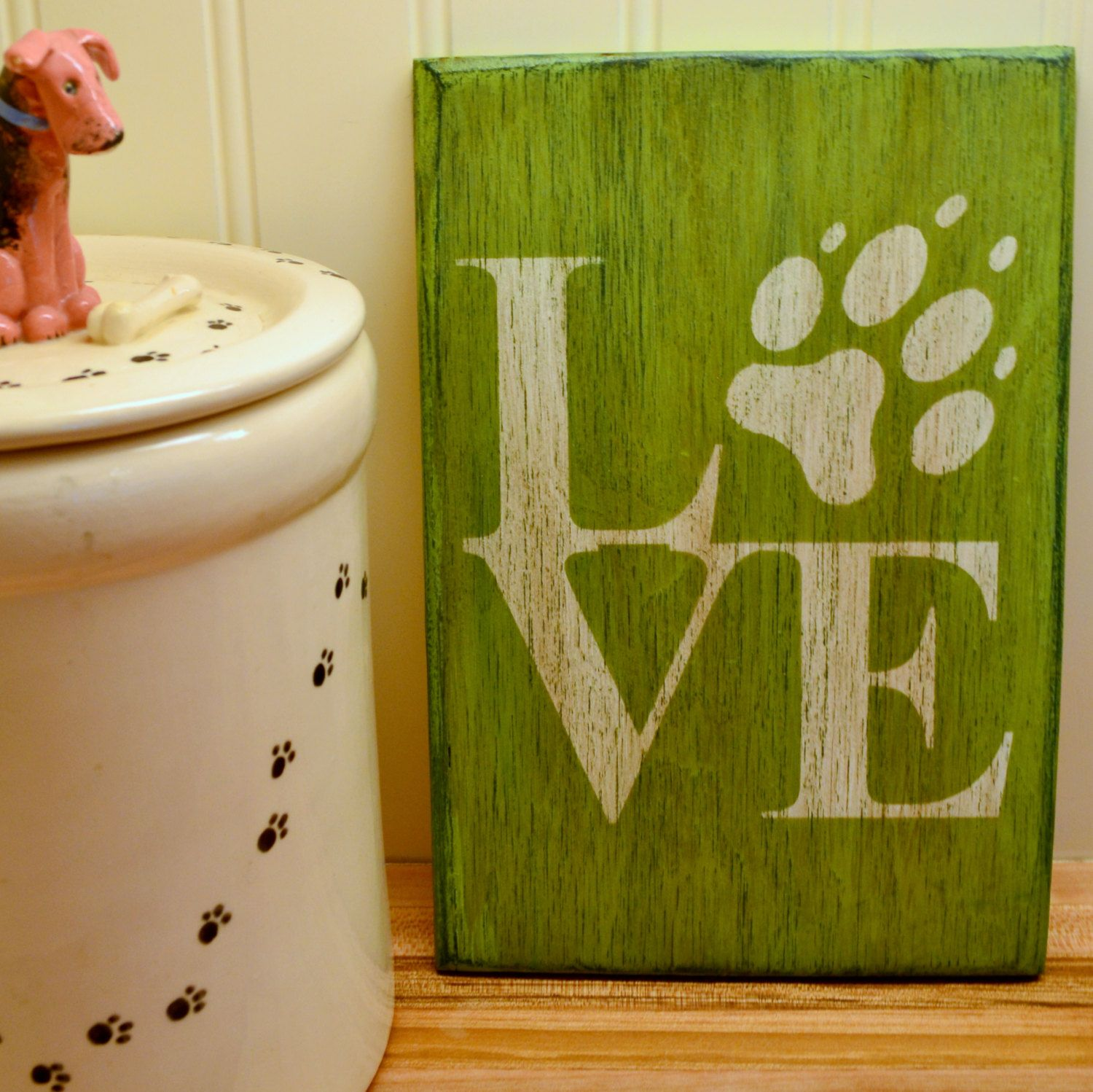 "Dog Love Sign - 6"" x 9"" Small Wood Sign by southofmain on Etsy"