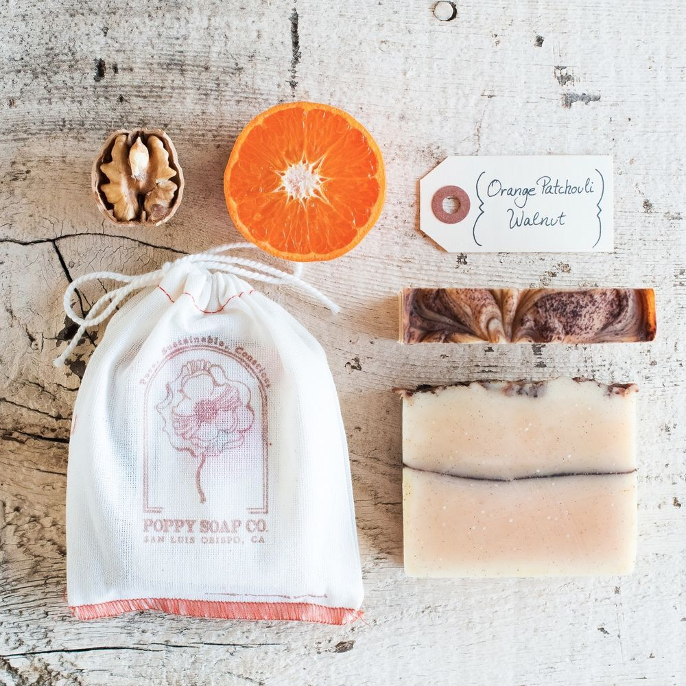 Organic bar soap scented in Orange Patchouli Walnut, handmade by Poppy Soap Co. A fragrant touch for the bathroom.