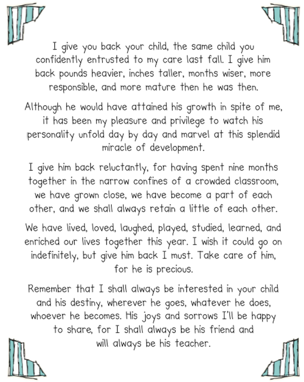 End Of Year Teacher Letter  Part  And A Freebie Of My Summer