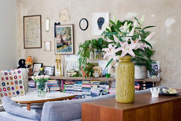 bare plaster walls - Sandra Juto's living room