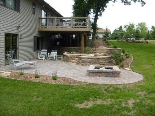 Under deck landscaping fire pit area landscaping for Walkout basement backyard ideas