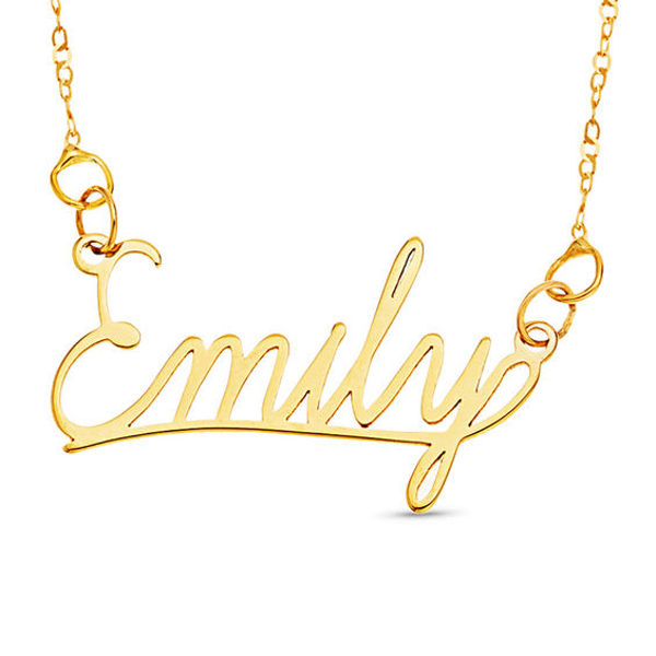 Cursive Name Necklace In 10k Gold 1 Line 16 In 2020 Name Necklace Blue Sapphire Necklace Good Luck Necklace
