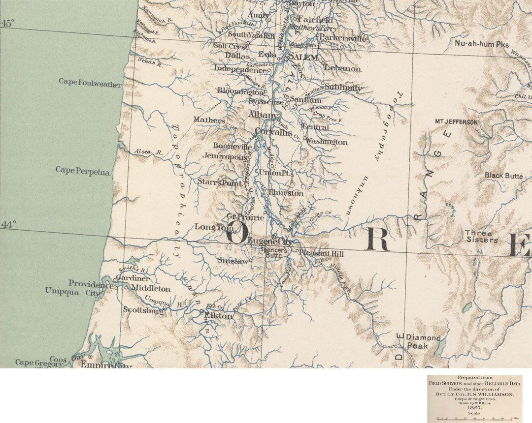 Western Oregon map published in 1867 | Benton County Oregon ...